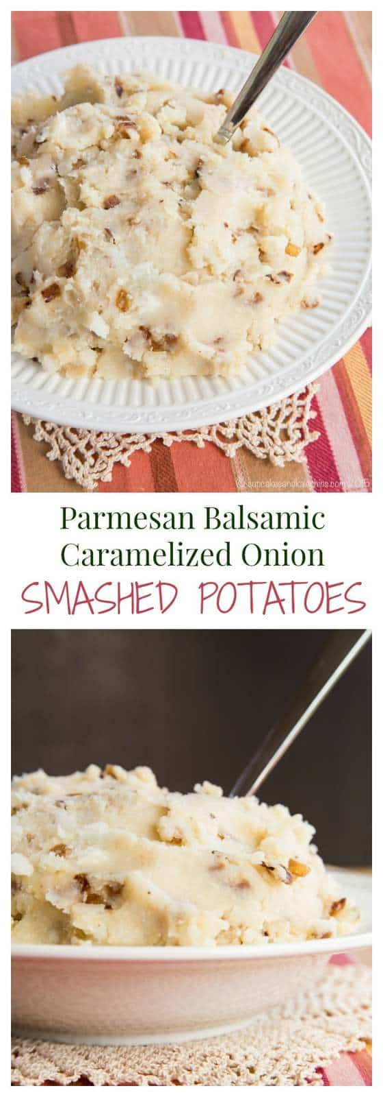 Parmesan Balsamic Caramelized Onion Smashed Potatoes - a tasty way to change up your traditional mashed potatoes recipe for your Sunday dinner or holiday meal. | cupcakesandkalechips.com