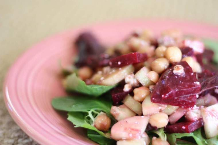 Lunch Salad with Beets, Chickpeas, Cucumbers and Blue Cheese