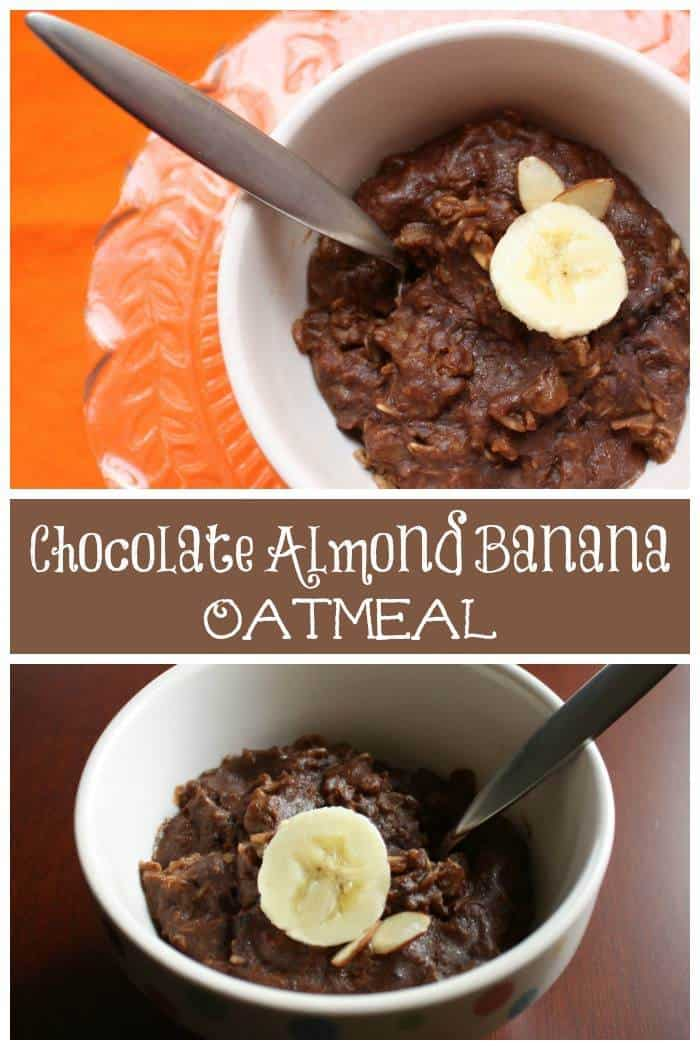Chocolate Almond Banana Oatmeal - a healthy breakfast that tastes like dessert! | cupcakesandkalechips.com | gluten free, vegan