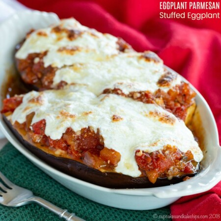 Eggplant Parmesan Stuffed Eggplant square image with title
