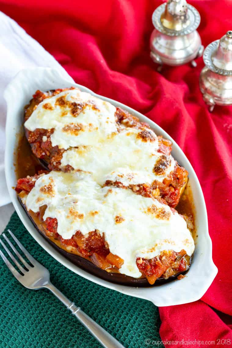Gluten Free Stuffed Eggplant with Ricotta and Mozzarella in a white baking dish