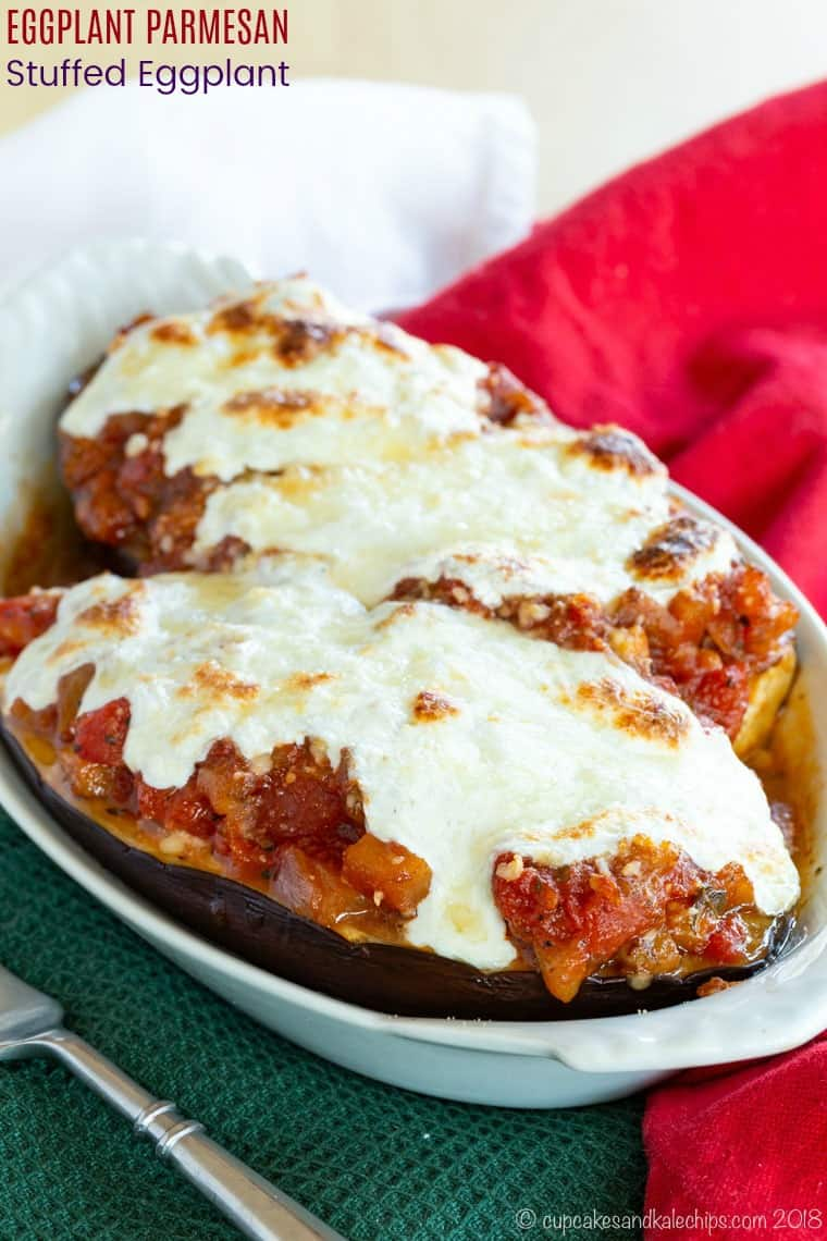 Eggplant Parmesan Stuffed Eggplant - a vegetarian bolognese sauce, ricotta, parmesan, and mozzarella stuffed inside eggplant is a Meatless Monday dinner or side dish without the work of traditional eggplant parmesan. Plus it's naturally gluten free and low carb, or you can serve it with pasta or bread. #cupcakesandkalechips #glutenfreerecipes #lowcarbrecipes #vegetables #eggplantparmesan #meatlessmonday #dinner #easydinnerrecipes