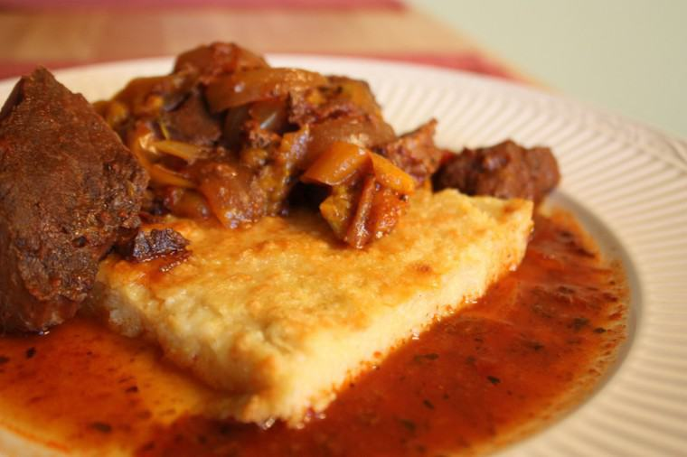 Steak Pizzaiola with Polenta close