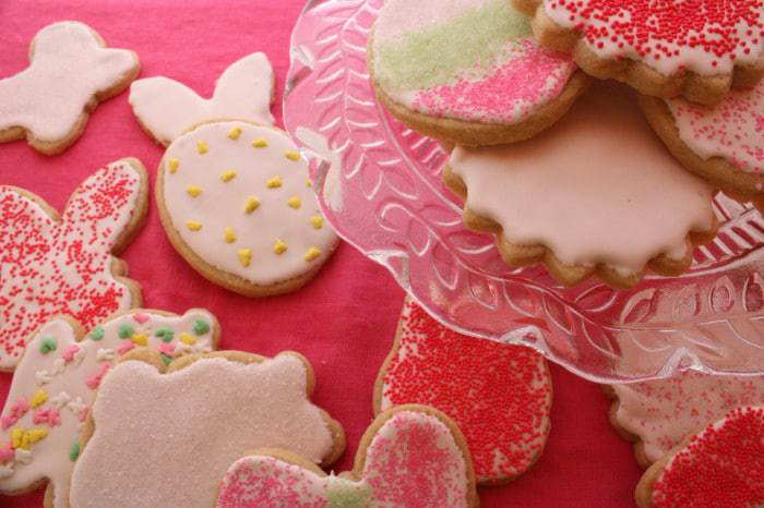 Whole Wheat Lemon Sugar Cookies with Strawberry Lemon Royal Icing