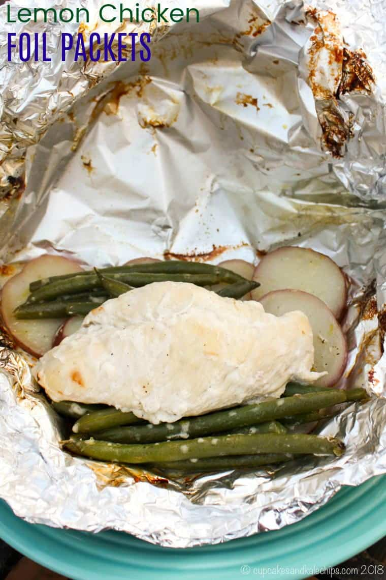 Lemon Chicken Foil Packets Recipe with potatoes and parmesan green beans
