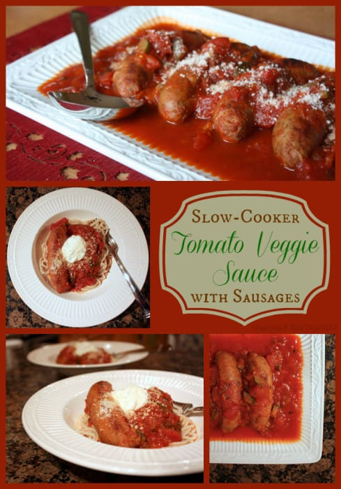 Slow-Cooker Tomato Veggie Sauce with Sausages | cupcakesandkalechips.com | #slowcooker #crockpot #tomatosauce #glutenfree