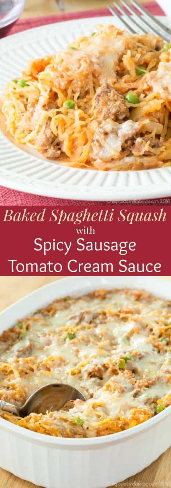 Baked Spaghetti Squash with Spicy Sausage Tomato Cream Sauce - a healthy, gluten free, low carb comfort food that's just as creamy, cheesy, and delicious as any pasta casserole recipe. #spaghettisquash #glutenfree #lowcarb