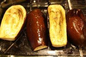 Baking the eggplant shells