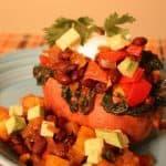 Pineapple Black Bean Stuffed Sweet Potatoes close up