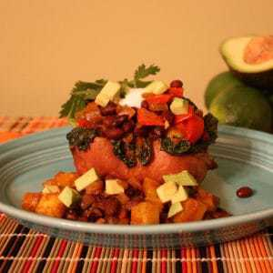 Pineapple Black Bean Stuffed Sweet Potatoes on plate