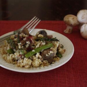 Asparagus and Mushroom Millet Pilaf with mushrooms
