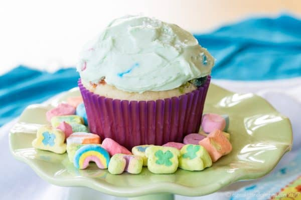 Lucky Charms Cupcakes surrounded by Lucky Charms Marshmallows