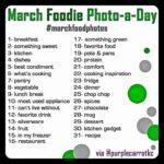 List of different challenges for each day in March for Foodie Photo-a-Day Challenge
