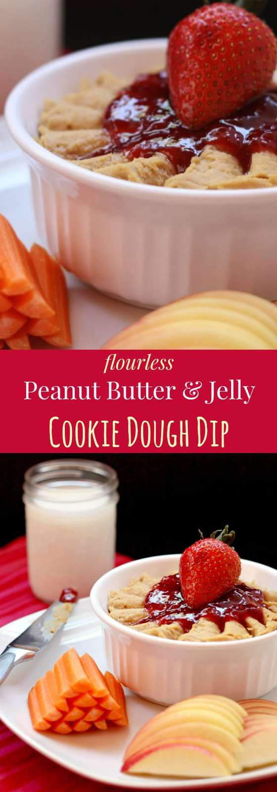 Flourless Peanut Butter and Jelly Cookie Dough Dip - made with a secret ingredient, this fun sweet dessert dip is a healthy snack recipe that's naturally gluten free and vegan.