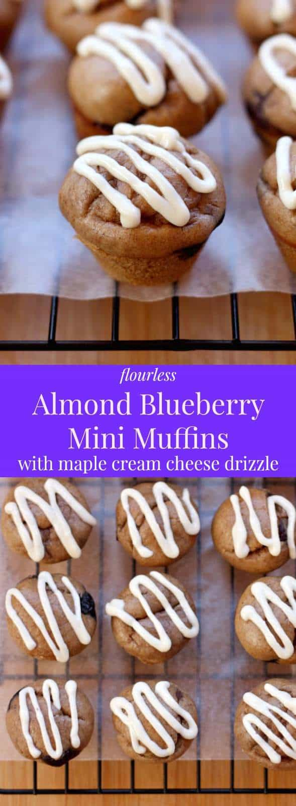 Flourless Almond Blueberry Mini Muffins - a simple snack or bite-sized breakfast recipe that's naturally gluten-free and packed with healthy ingredients, The Maple Cream Cheese Drizzle is the perfect addition! | cupcakesandkalechips.com