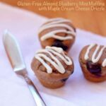 Gluten-Free Almond Blueberry Muffins with Maple Cream Cheese Drizzle