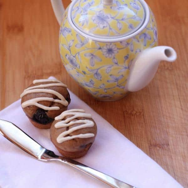 Gluten Free Almond Blueberry Mini Muffins with teapot