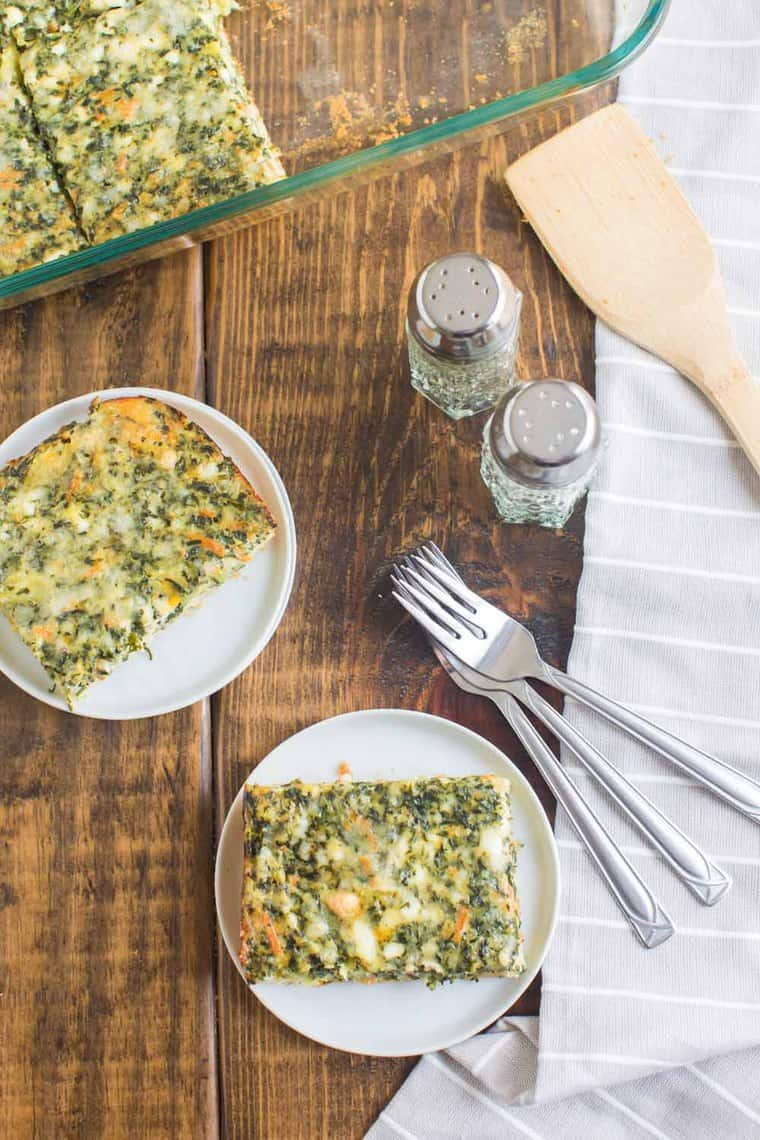Vegetarian Breakfast Casserole served on plates for breakfast with forks