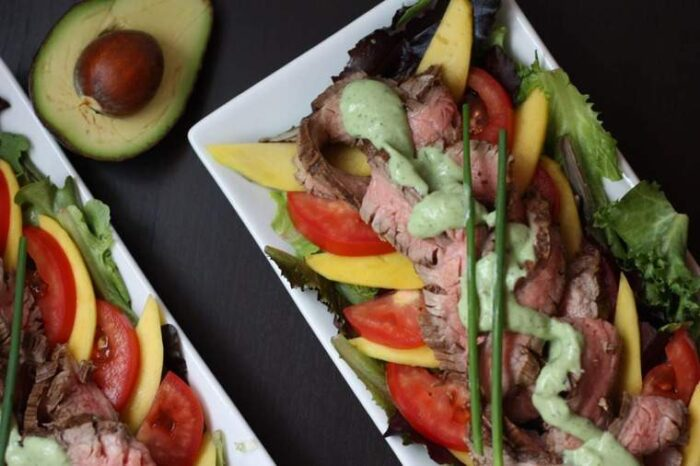 Grilled Steak Salad with Avocado Buttermilk Ranch from top