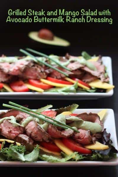 Grilled Steak & Mango Salad with Avocado Buttermilk Ranch Dressing | cupcakesandkalechips.com #ranchdressing #salad #steak #avocado