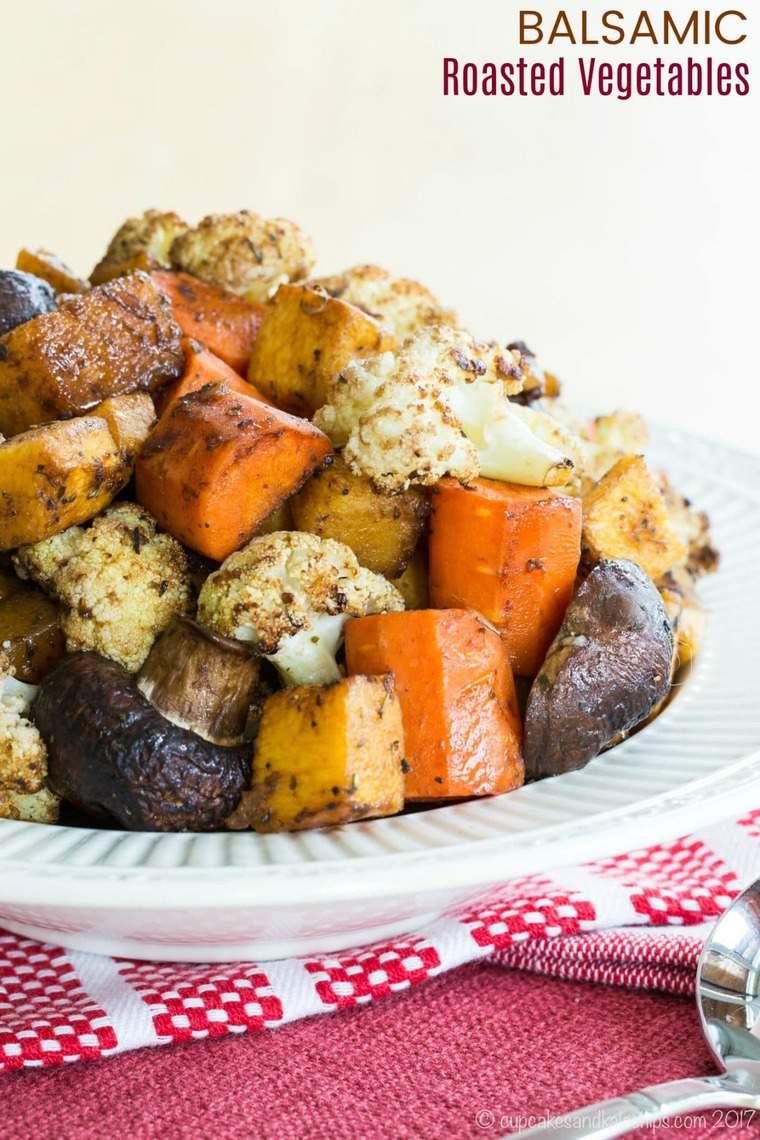 Balsamic Roasted Vegetables Recipe image with title