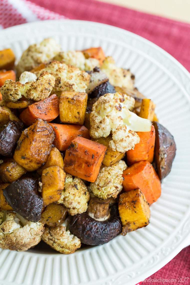 Roasted Vegetables with Balsamic Vinegar including cauliflower, carrots, mushrooms, and butternut squash