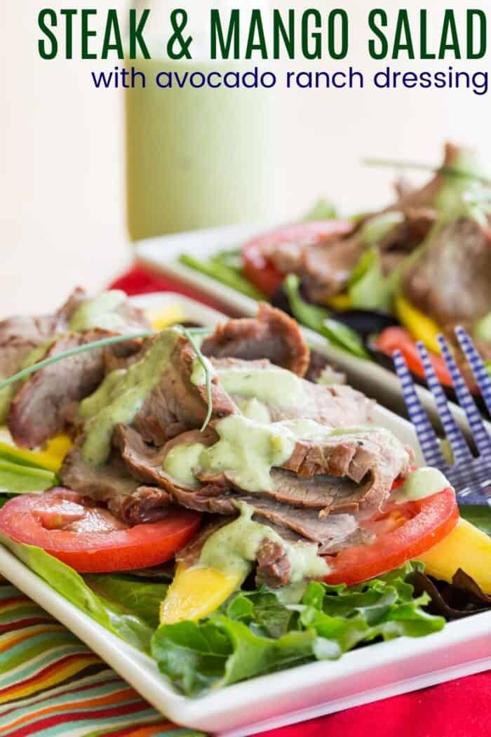 Steak Mango Salad Recipe Image with Title