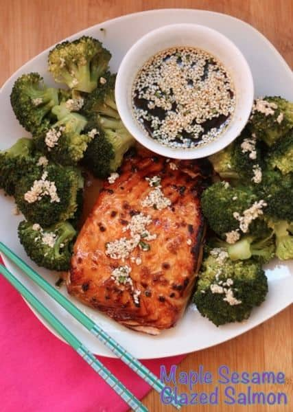 Maple Sesame Glazed Salmon with caption