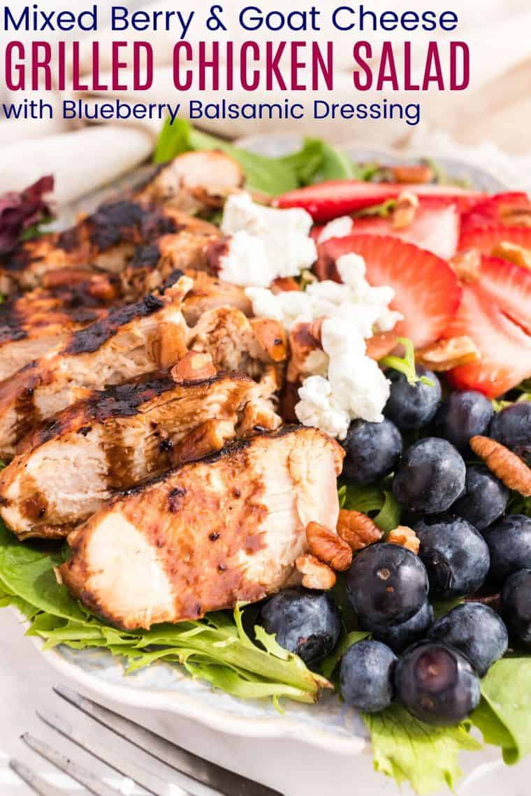 Mixed Berry and Goat Cheese Grille Chicken Salad with Blueberry Balsamic Dressing Recipe Image with title