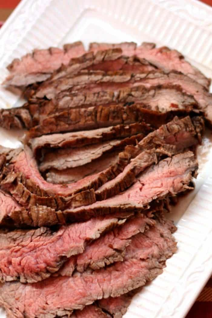 Platter of Sundried Tomato Rosemary Balsamic Marinated Flank Steak