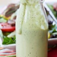 glass bottle of avocado ranch dressing