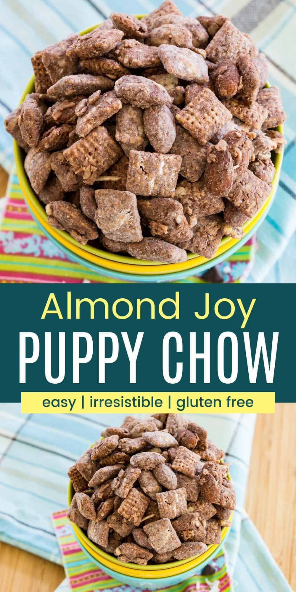 Almond Joy Puppy Chow - these coconut chocolate almond butter Muddy Buddies have the flavors you love from the classic candy bar in an easy, sweet snack recipe. It can also be made gluten free and vegan. #almondjoy #puppychow #muddybuddies #glutenfree