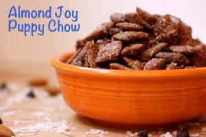 Almond Joy Puppy Chow orange bowl horizontal