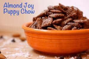 Almond Joy Puppy Chow orange bowl horizontal