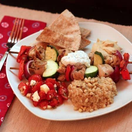 Chicken Souvlaki Dinner on Plate 2
