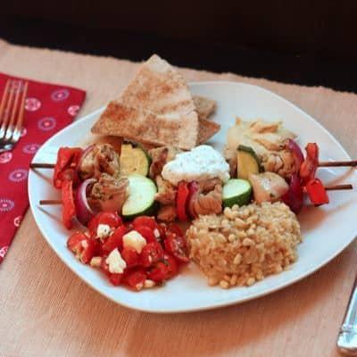 Chicken Souvlaki Dinner on plate 1