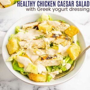 Healthy Chicken Caesar Salad square image with title