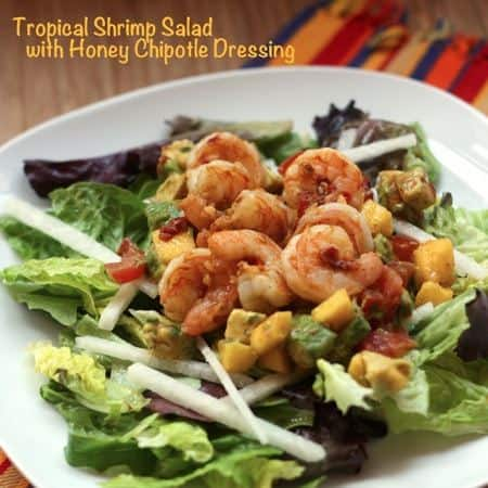 Tropical Grilled Shrimp Salad with Sweet and Spicy Honey Chipotle Dressing