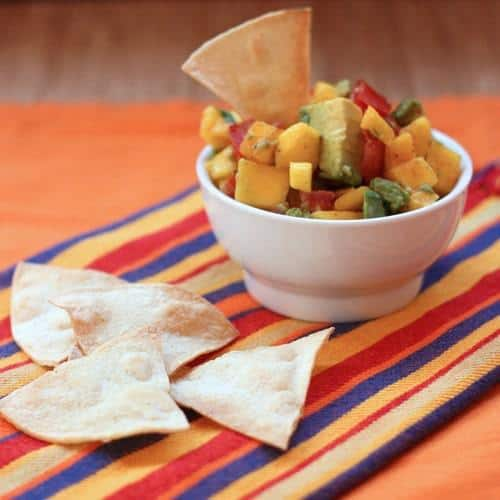Mango Avocado Salsa with a chip