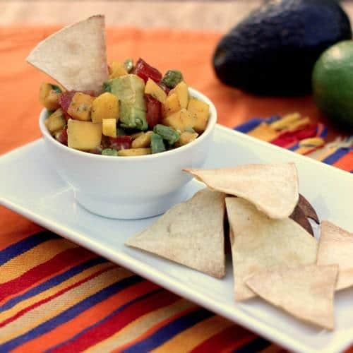 Mango Avocado Salsa with tortilla chips