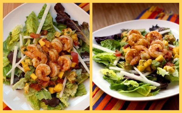 Tropical Shrimp Salad with Honey Chipotle Dressing - A flavorful, sweet and spicy grilled shrimp dinner.