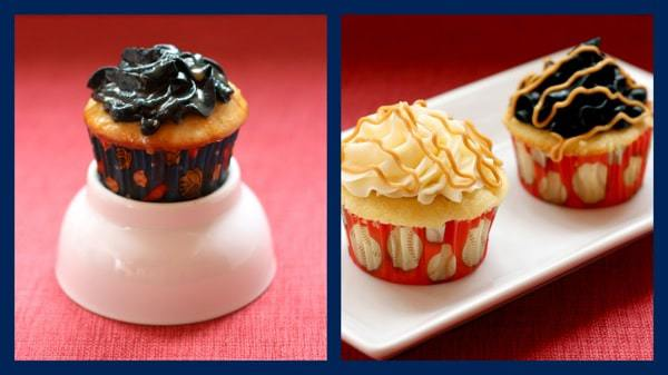 Peanuts and Cracker Jack Cupcakes Collage with Chocolate
