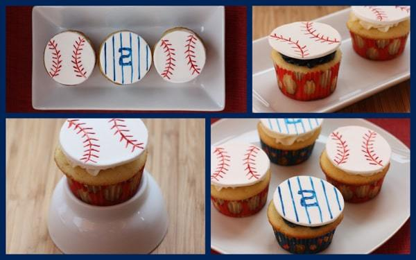 Peanuts and Cracker Jack Cupcakes baseball decor collage