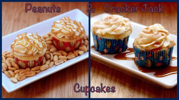 Peanuts and Cracker Jack Cupcakes with caption