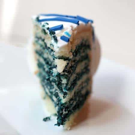 Reverse Blue Velvet Cake Slice Front