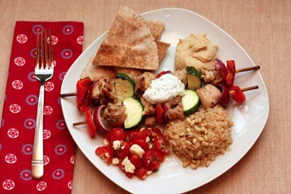 Souvlaki Dinner on Plate Horizontal
