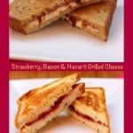 A Collage of Two Images of Havarti Grilled Cheese Sandwiches with a Burgundy Border