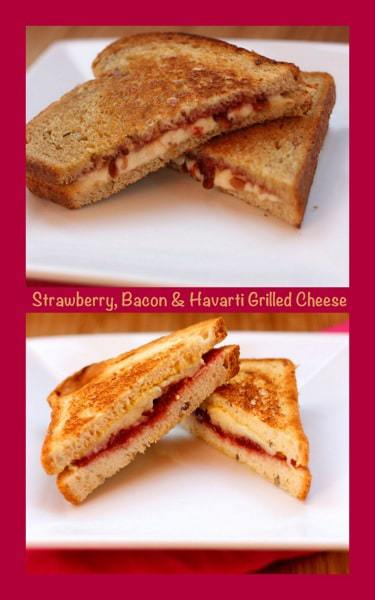 Strawberry Bacon and Havarti Grilled Cheese with caption