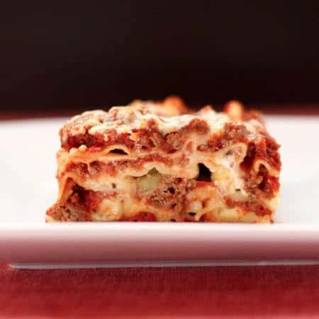All the layers of homemade Lasagna from the side