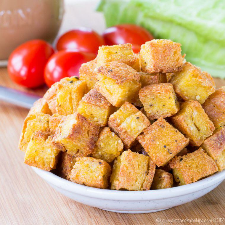 A heaping bowl of polenta croutons